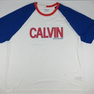 Calvin Klein Mens 3XL Fashion Logo Raglan T-Shirt